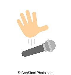Mic drop illustration. Cartoon hand dropping microphone, simple modern icon.
