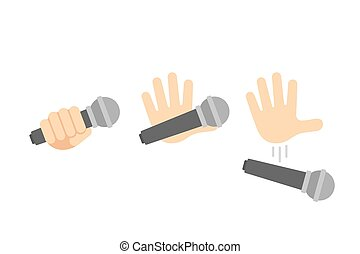 Mic drop illustration set. Cartoon hand holding and dropping...