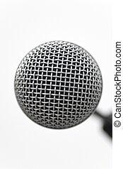 Mic Head Closeup - Classic dynamic microphone on a white...