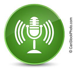 Mic icon elegant soft green round button