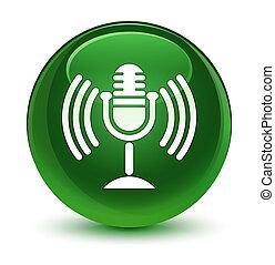 Mic icon glassy soft green round button