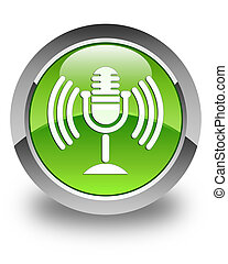 Mic icon glossy green round button