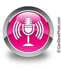 Mic icon glossy pink round button
