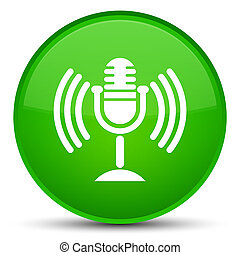 Mic icon special green round button