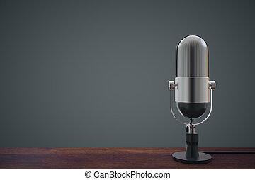 mic, op, wooden table