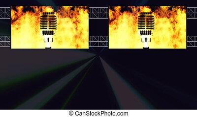 mic, pętla, klub, światła, płonący