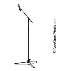 mic stand isolated on a white background. 3d render