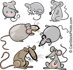 mice and rats set cartoon illustration - Cartoon...