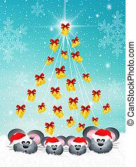 mice at Christmas - family of mice at Christmas