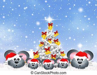 mice celebrate Christmas