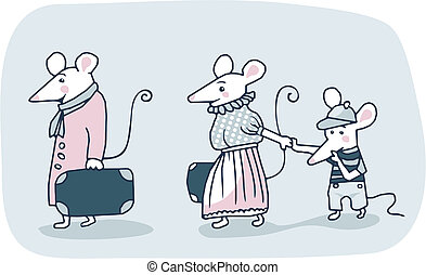 Mice Family - Cartoon of a white mice family moving out