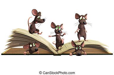 Mice reading book
