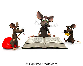 Mice storytime - An adult mouse reading a story for two mice...