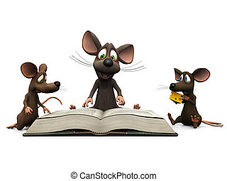 Mice storytime - An adult cartoon mouse reading a story for...