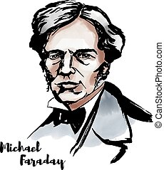 Michael Faraday watercolor vector portrait with ink contours...