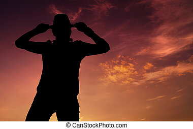 Michael Jackson Dance - silhouette of a guy in a dancing...
