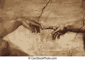 "Michaelangelo's ""the creation of Adam"" recerated in vector form"