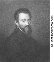 Michelangelo (1475-1564) on engraving from the 1800s....