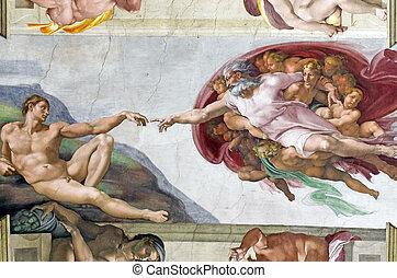 michelangelo's, フレスコ画, 中に, sistine チャペル