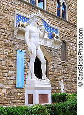 Michelangelo's replica David . Florence, Italy