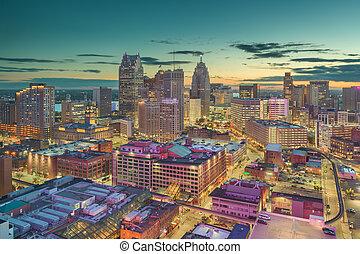 michigan , η π α , λυκόφως , κάτω στην πόλη , γραμμή ορίζοντα , detroit