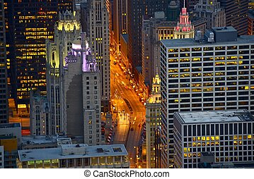 Michigan Avenue Chicago - Streets of Chicago at Night - Bird...