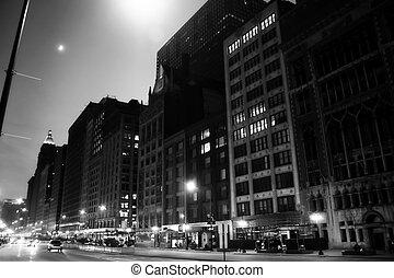 michigan avenue - a black and white shot of michigan avenue...