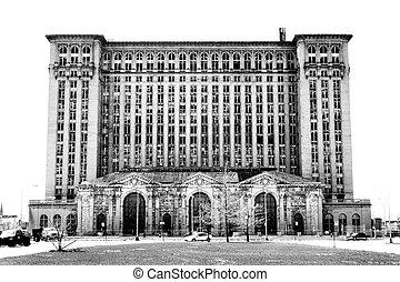 Michigan Central Station, Detroit, Michigan - A black and...