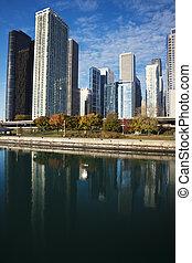 michigan, chicago, lac, reflété