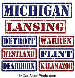 Michigan Cities stamps