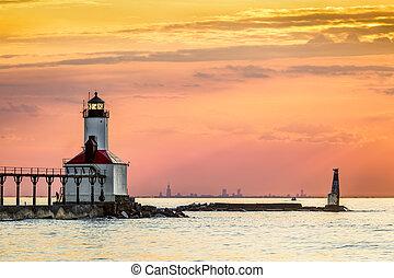 Michigan City Light and Chicago