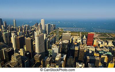michigan, coucher soleil, lac, chicago