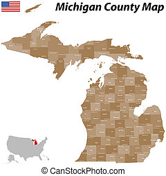 Michigan county map - A large and detailed map of the State...