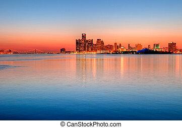 michigan, detroit, skyline, nacht