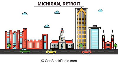 Michigan, Detroit.City skyline: architecture, buildings, streets, silhouette, landscape, panorama, landmarks, icons. Editable strokes. Flat design line vector illustration concept.