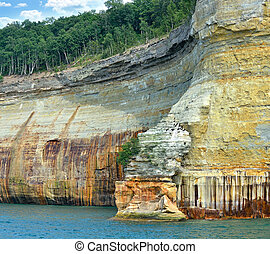 michigan, estado, costa lago, rocha, nacional, imaginado