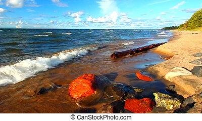 Michigan Lake Superior Beach - Waves along the beach of Lake...