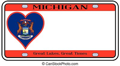 Michigan License Plate - Michigan state license plate in the...
