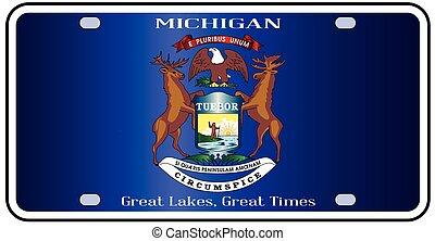 Michigan License Plate Flag - Michigan state license plate...