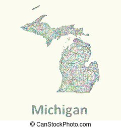 Michigan line art map from colorful curved lines