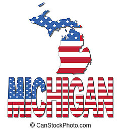 Michigan map flag and text