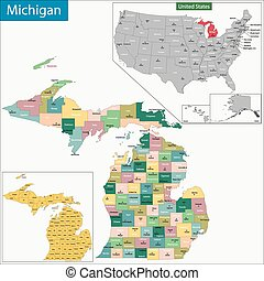 Michigan map - Map of Michigan state designed in...