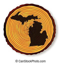 Michigan Map On Timber