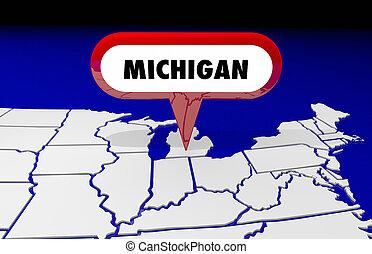 michigan, mi, carte état, épingle, emplacement, destination, 3d, illustration