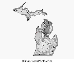 Michigan MI Clock Time Passing Forward Future 3d Illustration