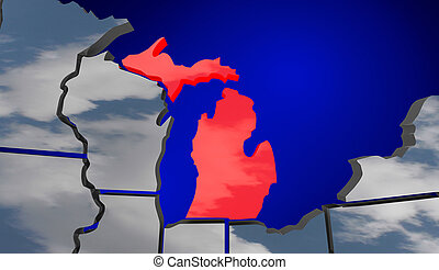 Michigan MI Map Clouds USA United States America Weather Forecast 3d Illustration