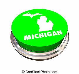 Michigan MI State Button Best Location Choice 3d ...