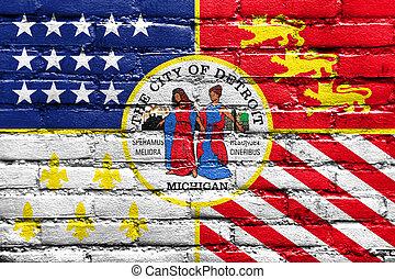 michigan, pared pintada, bandera, ladrillo, detroit