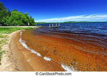 michigan, playa, lago, gogebic