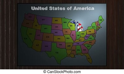 Michigan pull out from USA states abbreviations map